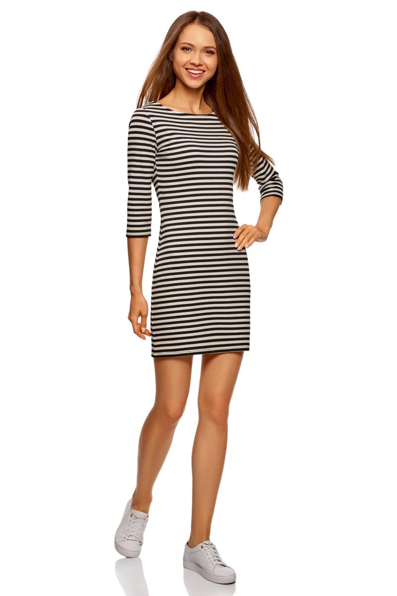 Платье oodji Ultra, цвет: черный, кремовый. 14001071-14/47094/7930S. Размер L (48)14001071-14/47094/7930SПлатье от oodji выполнено из высококачественного трикотажа. Модель облегающего кроя с рукавами 3/4 и круглым вырезом горловины.
