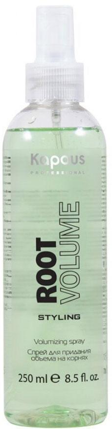 Kapous Professional Спрей для придания объёма на корнях «Root Volume» 250 мл78Спрей для придания объёма на корнях «Root Volume» Kapous это укладочное средство для моделирования причесок любой степени сложности и объема. Легко распределяется по волосам и быстро сохнет. Может использоваться на сухих и на влажных волосах.Средство сочетающее в себе укладку и уход за волосами создает объем непосредственно у корней волос, обеспечивает влагостойкую, длительную фиксацию. Образуя на поверхности волоса микропленку, он препятствует потери влаги и защищает волос от неблагоприятных воздействий окружающей среды. Спрей укрепляет волосы и обеспечивает стойкость укладки. Защищает волосы от повреждений при использовании фена или щипцов, сохраняет естественный блеск. Предотвращает наэлектризованность волос.Спрей «Root Volume» не содержит спирта и не сушит кожу головы, идеально подходит для стайлинга, для тонких, редких и безжизненных волос. Результат: Надежная фиксация, дополнительная поддержка волос у корней и объем по всей длине. Волосы становятся гуще, пышнее и выглядят здоровыми и сильными.