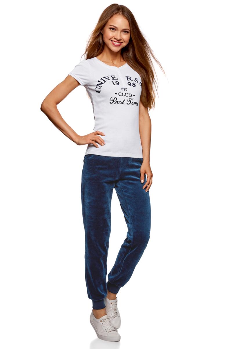 Брюки спортивные женские oodji Ultra, цвет: темно-синий. 16701052B/47883/7900N. Размер M (46) брюки спортивные женские oodji ultra цвет темно изумрудный 16701052b 47883 6e00n размер xs 42