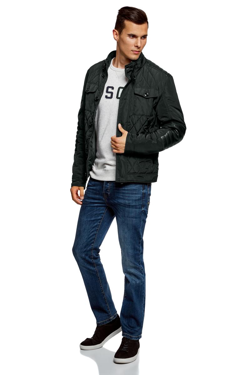 Куртка мужская oodji Lab, цвет: темно-зеленый, черный. 1L111026M/44330N/6929B. Размер XL-182 (56-182)1L111026M/44330N/6929BСтильная мужская куртка oodji Lab изготовлена из высококачественного полиэстера. В качестве утеплителя используется полиэстер. Стеганая модель с воротником-стойкой застегивается на застежку-молнию и пуговицы. Спереди расположены карманы.