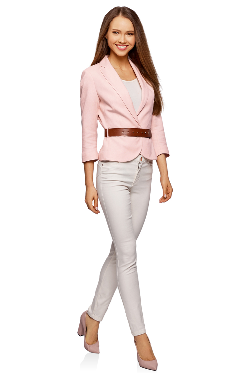 Жакет женский oodji Collection, цвет: светло-розовый. 21202076-2/45503/4000N. Размер 46-170 (52-170)