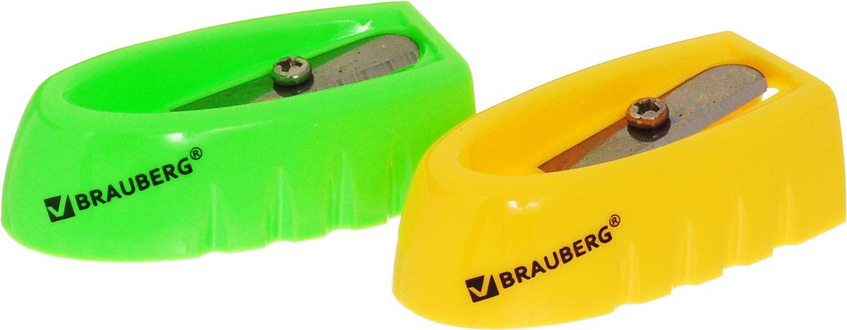 Brauberg Точилка ErgoColor цвет желтый салатовый 2 шт222503_желтый, салатовыйКачественное стальное лезвие обеспечивает легкое равномерное затачивание карандашей. Точилка предназначена для затачивания деревянных и пластиковых карандашей.