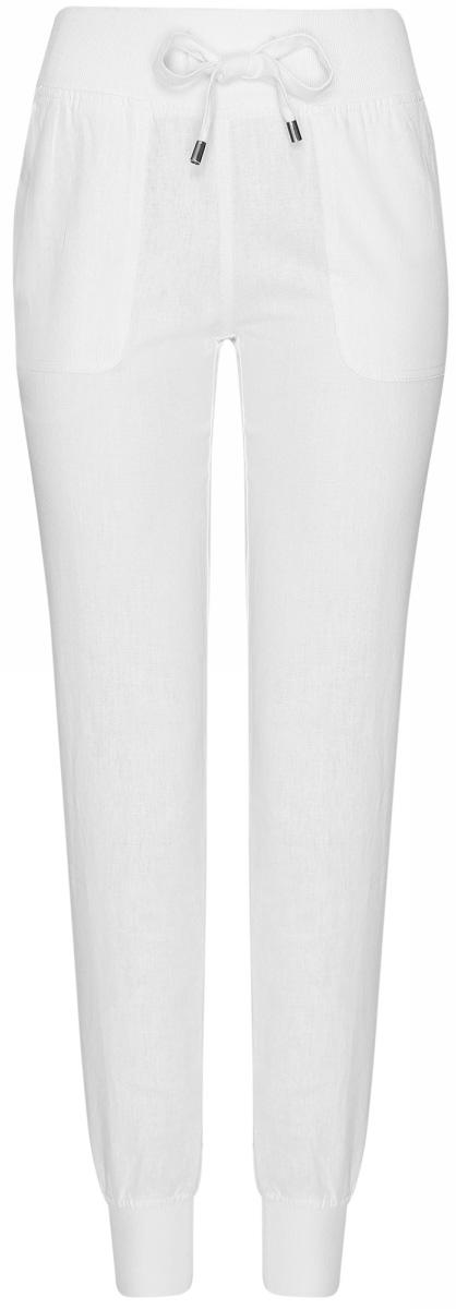 Брюки женские oodji Collection, цвет: белый. 21711005/16009/1000N. Размер 46-170 (52-170) платье oodji collection цвет черный белый 24001104 1 35477 1079s размер l 48