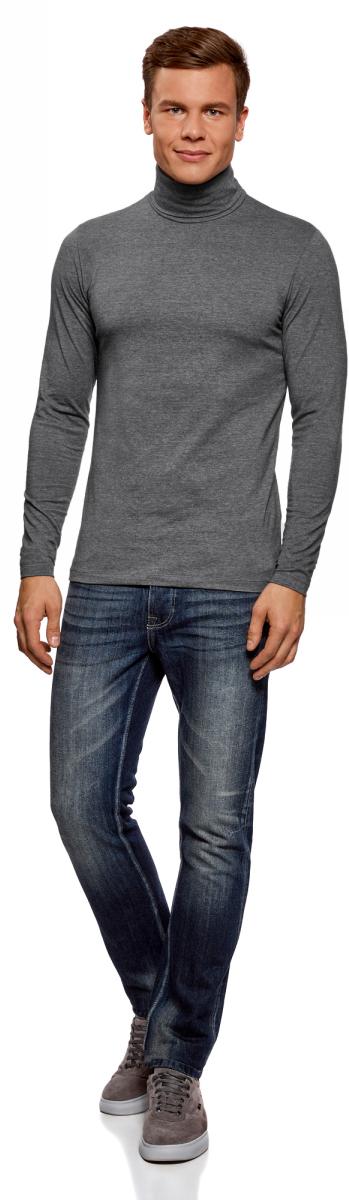 Водолазка мужская oodji Basic, цвет: темно-серый меланж. 5B513001M-2/47842N/2500M. Размер S (46/48)