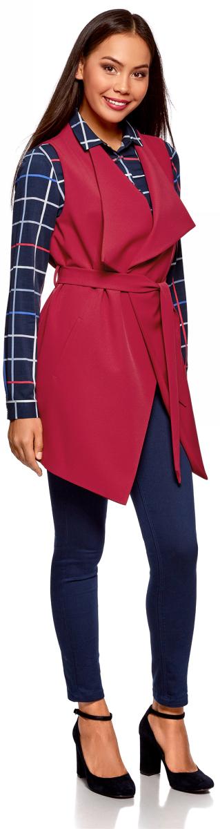 Жилет женский oodji Collection, цвет: бордовый. 22304001/45559/4902N. Размер 44-170 (50-170)22304001/45559/4902NУдлиненный жилет с запахом oodji Collection изготовлен из полиэстера с добавлением эластана. Жилет с воротником-апаш и V-образным вырезом дополнен текстильным поясом и двумя прорезными карманами. Благодаря своему крою этот жилет идет абсолютно всем: высоким и миниатюрным девушкам, худым и в теле. Практичный жилет - многофункциональный предмет гардероба, с которым вы сможете создать образ в любом стиле. Он прекрасно сочетается с классическими брюками и леггинсами, с джинсами и шортами, а также гармонично смотрится блузкой и юбкой или с платьем.