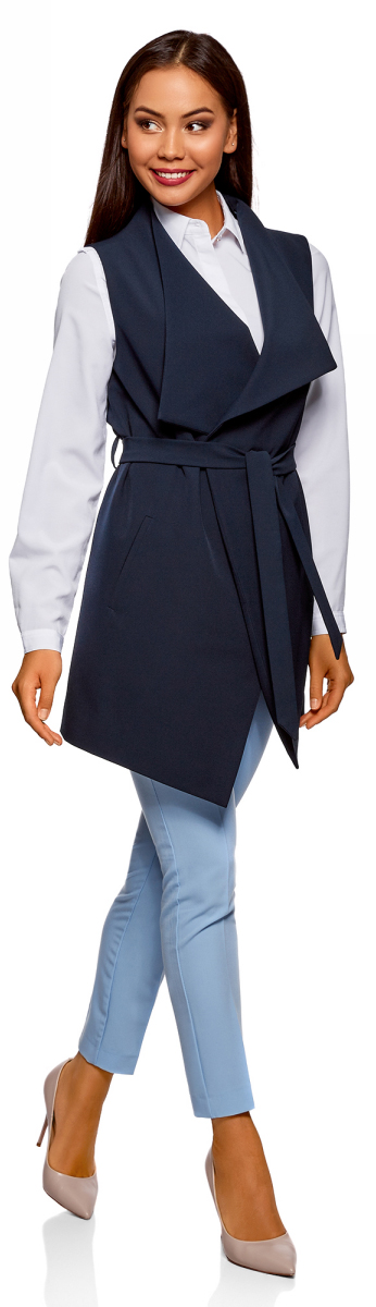 Жилет женский oodji Collection, цвет: темно-синий. 22304001/45559/7900N. Размер 38-170 (44-170)
