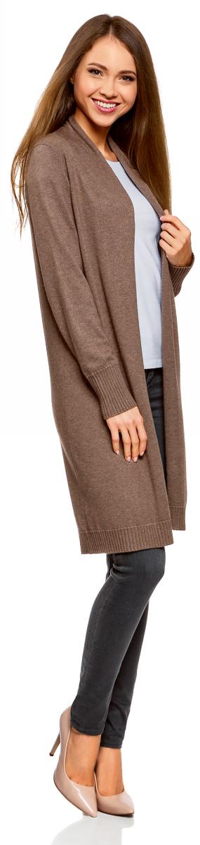 Кардиган женский oodji Collection, цвет: темно-коричневый меланж. 73212385-3/43755/3900M. Размер XS (42)73212385-3/43755/3900MВязаный удлиненный кардиган от oodji выполнен из вискозной пряжи. Модель с длинными рукавами без застежки.
