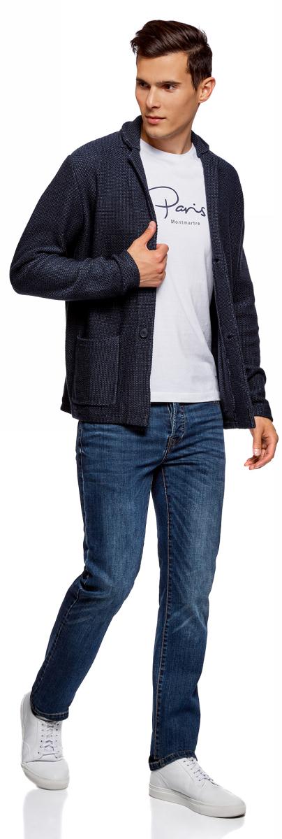 Пиджак мужской oodji Lab, цвет: темно-синий. 4L605041M/47665N/7975O. Размер XL (56)4L605041M/47665N/7975OВязаный мужской пиджак от oodji выполнен из хлопково-акриловой пряжи. Модель с длинными рукавами и лацканами застегивается на пуговицы, дополнена накладными карманами.