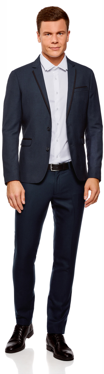 Пиджак мужской oodji Lab, цвет: темно-синий, черный. 2L420202M/47087N/7929O. Размер 54-182 (54-182) пиджак мужской oodji lab цвет темно синий 2l410201m 47076n 7900o размер 48 182