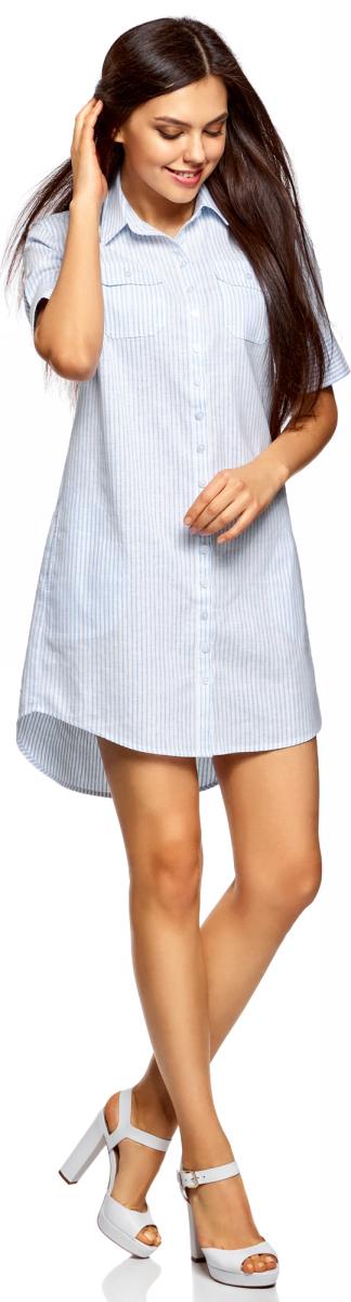 Платье женское oodji Collection, цвет: голубой, белый. 21901131-3/19650/7010S. Размер 42-170 (48-170) платье oodji collection цвет черный белый 24001104 1 35477 1079s размер l 48