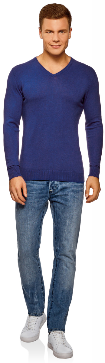 Пуловер мужской oodji Basic, цвет: синий. 4B212004M/39796N/7500N. Размер L (52/54)4B212004M/39796N/7500NМужской пуловер oodji Basic изготовлен из мягкого эластичного материала. Модель имеет V-образный вырез горловины и длинные рукава. Вырез горловины, манжеты и низ изделия связаны резинкой.