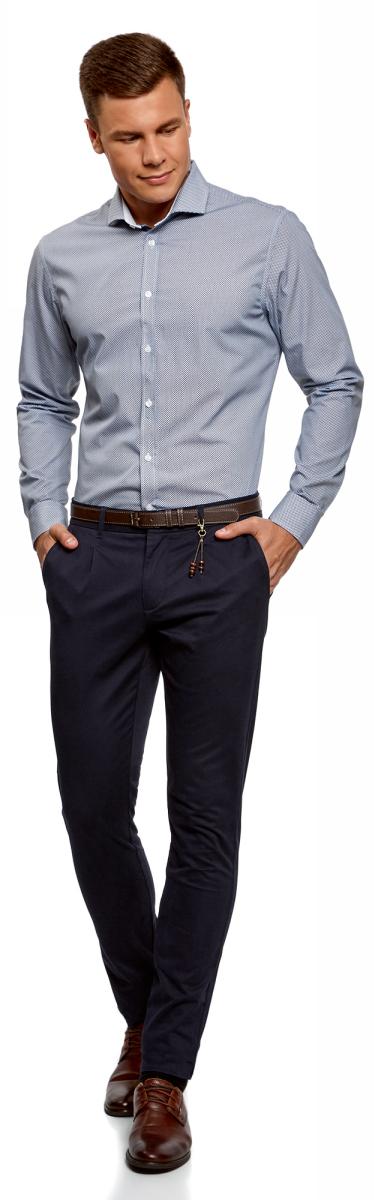 Рубашка мужская oodji Lab, цвет: белый, синий. 3L110271M/19370N/1075G. Размер 39-182 (46-182)3L110271M/19370N/1075GСтильная мужская рубашка от oodji выполнена из натурального хлопка. Модель приталенного силуэта с длинными рукавами и отложным воротником застегивается на пуговицы. Рукава дополнены манжетами на пуговицах.
