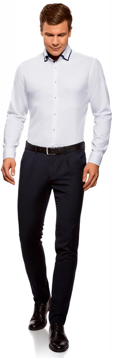 Рубашка мужская oodji Lab, цвет: белый. 3L110267M/47120N/1000B. Размер 38-182 (44-182)3L110267M/47120N/1000BСтильная мужская рубашка от oodji выполнена из натурального хлопка. Модель приталенного силуэта с длинными рукавами и отложным воротником застегивается на пуговицы. Рукава дополнены манжетами на пуговицах.