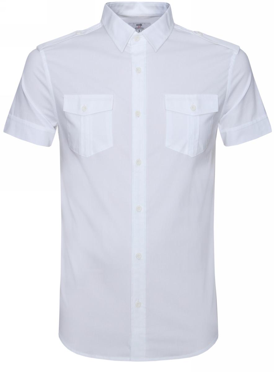 Рубашка мужская oodji Lab, цвет: белый. 3L410094M/23453N/1000N. Размер M-182 (50-182)3L410094M/23453N/1000NРубашка oodji Lab выполнена из натурального хлопка и оформлена в лаконичном дизайне. Модель с отложным воротником и коротким рукавом застегивается с помощью пуговиц. Дополнена рубашка спереди двумя накладными карманами с клапанами на пуговицах. Плечики изделия оформлены хлопковыми стильными хлястиками на пуговицах.