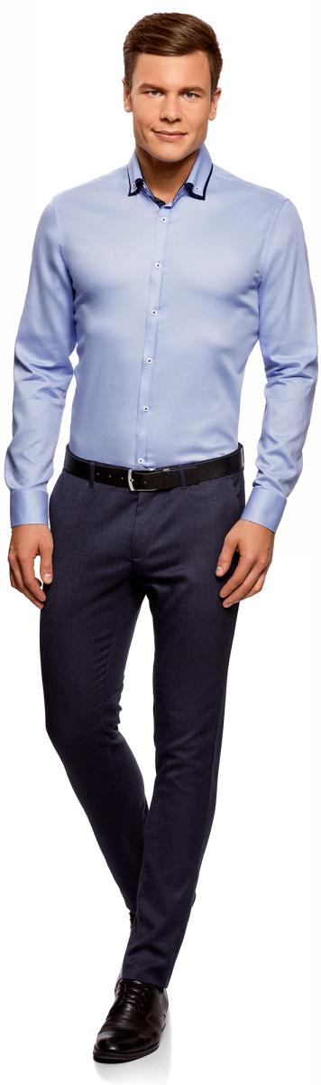 Рубашка мужская oodji Lab, цвет: голубой. 3L110267M/47120N/7000B. Размер 37-182 (42-182)3L110267M/47120N/7000BСтильная мужская рубашка от oodji выполнена из натурального хлопка. Модель приталенного силуэта с длинными рукавами и отложным воротником застегивается на пуговицы. Рукава дополнены манжетами на пуговицах.