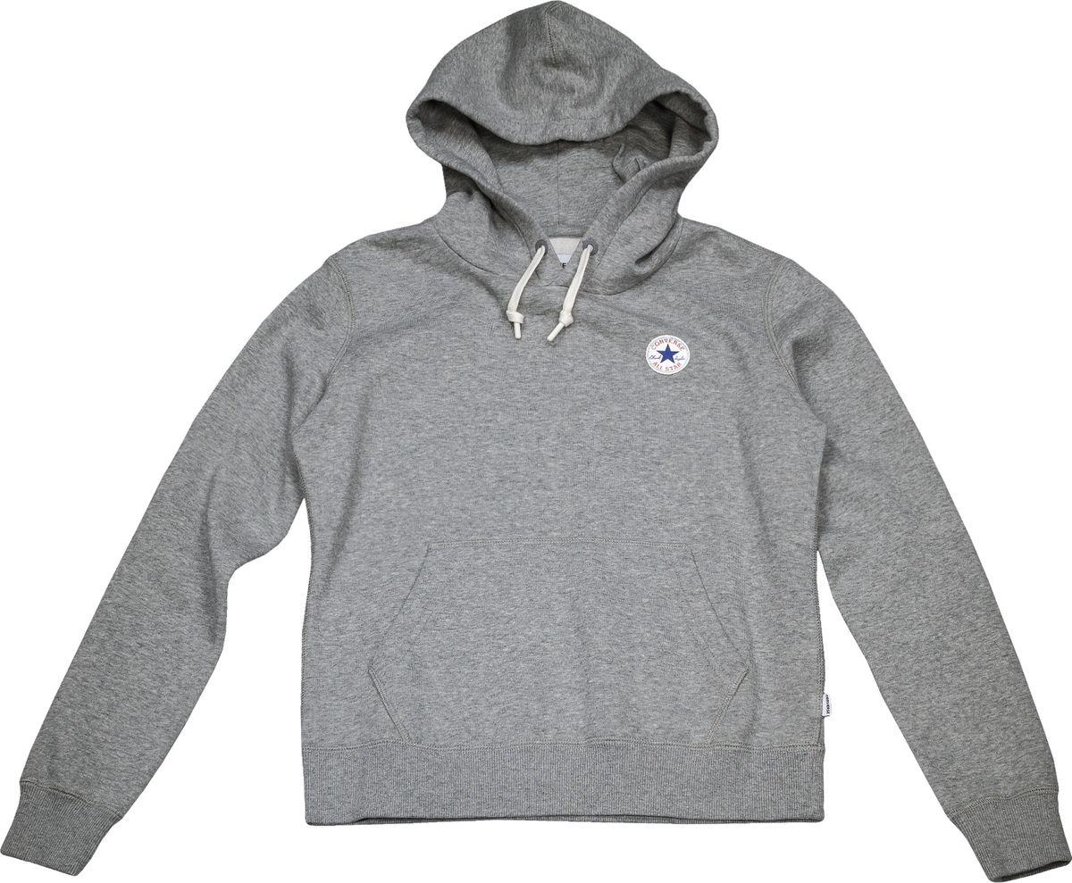 Худи женское Converse Core Popover Hoodie, цвет: серый. 10004543035. Размер XL (50)10004543035Худи с длинными рукавами и капюшоном изготовлено из мягкого смесового материала. Объем капюшона регулируется при помощи шнурка-кулиски. Спереди расположен карман-кенгуру.