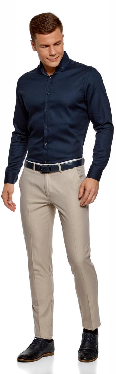 Рубашка мужская oodji Lab, цвет: темно-синий. 3L110267M/47120N/7900B. Размер 44-182 (56-182)3L110267M/47120N/7900BСтильная мужская рубашка от oodji выполнена из натурального хлопка. Модель приталенного силуэта с длинными рукавами и отложным воротником застегивается на пуговицы. Рукава дополнены манжетами на пуговицах.
