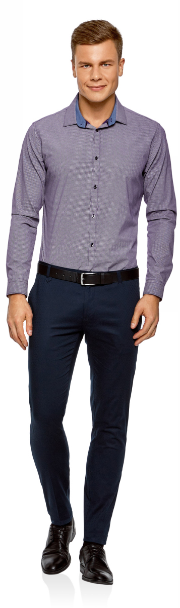 Рубашка мужская oodji Lab, цвет: фиолетовый, белый. 3L110279M/19370N/8310G. Размер 38-182 (44-182)3L110279M/19370N/8310GСтильная мужская рубашка от oodji выполнена из натурального хлопка. Модель с длинными рукавами и отложным воротником застегивается на пуговицы. Рукава дополнены манжетами на пуговицах.