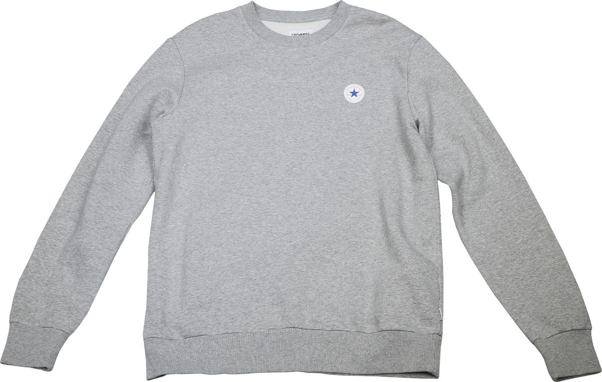 Толстовка мужская Converse Core Crew Sweatshirt, цвет: серый. 10004629035. Размер M (48)10004629035Толстовка изготовлена из качественного трикотажа на основе хлопка. Модель выполнена с длинными рукавами и круглым вырезом горловины. Толстовка дополнена на груди оригинальным принтом с названием бренда.