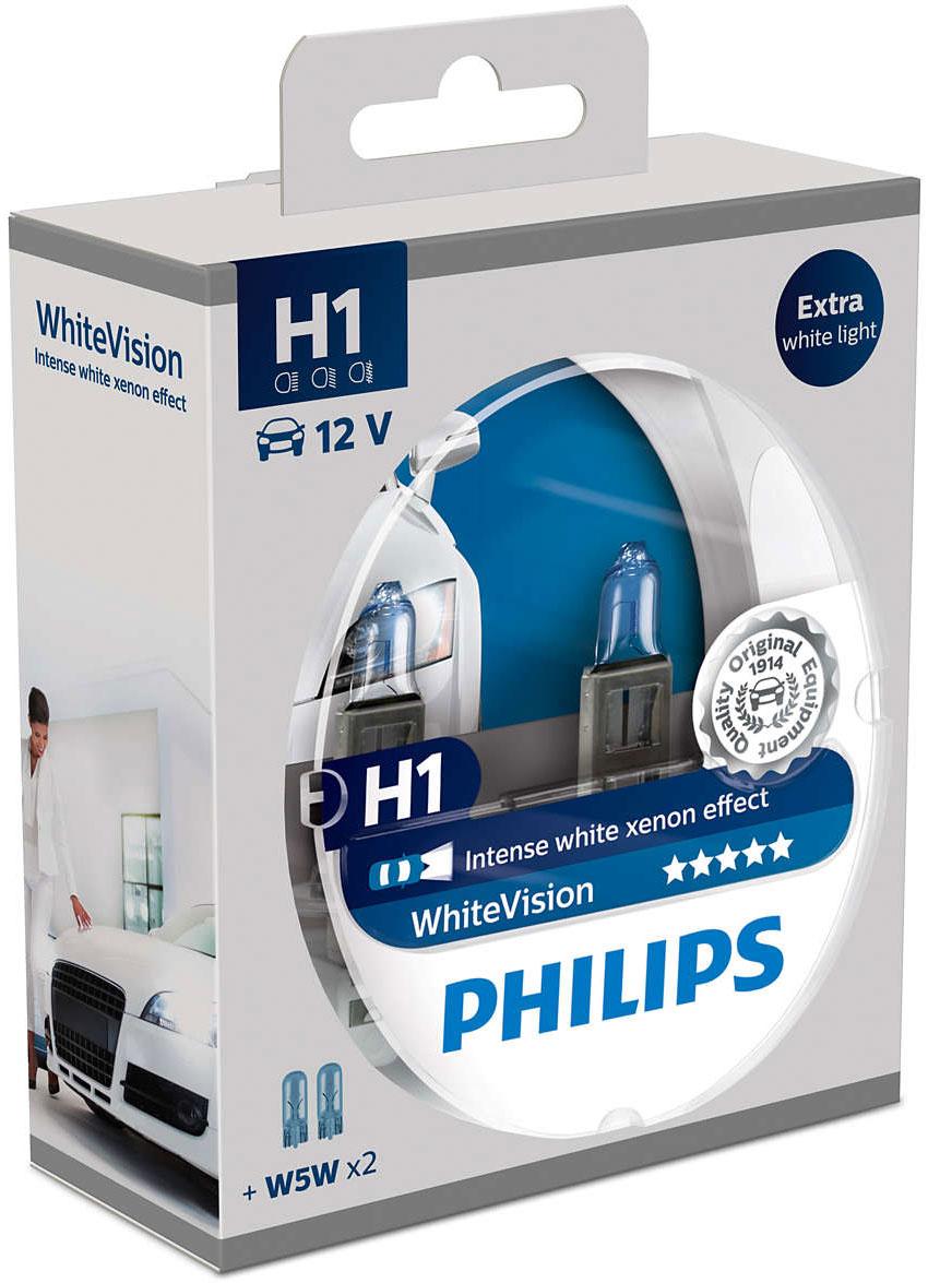 Лампа автомобильная галогенная Philips WhiteVision, для фар, цоколь H1 (P14.5s), 12V, 55W, 2 шт + цоколь W5W, 12V, 5W, 2 шт12258WHVSMГалогенная лампа для автомобильных фар Philips WhiteVision произведена из запатентованного кварцевого стекла с УФ фильтром Philips Quartz Glass. Кварцевое стекло Philips в отличие от обычного твердого стекла выдерживает гораздо большее давление смеси газов внутри колбы, что препятствует быстрому испарению вольфрама с нити накаливания. Кварцевое стекло выдерживает большой перепад температур, при попадании влаги на работающую лампу изделие не взрывается и продолжает работать. Лампы Philips WhiteVision излучают интенсивный белый свет с ксеноновым эффектом, что создает идеальные условия для вождения в ночное время. Благодаря повышенной яркости и цветовой температуре до 3700К лампы мгновенно рассеивают темноту: яркость чистого белого света увеличена на 40%. Повышенный уровень безопасности: более длинный световой пучок и на 60% больше света. Это обеспечивает лучшую видимость на дороге и позволяет предотвращать потенциально аварийные ситуации. Обладая цветовой температурой ксеноновых ламп и стильным белым цоколем, лампы WhiteVision идеально подходят для головного освещения.Автомобильные галогенные лампы Philips удовлетворят все нужды автомобилистов: дальний свет, ближний свет, передние противотуманные фары, передние и боковые указатели поворота, задние указатели поворота, стоп-сигналы, фонари заднего хода, задние противотуманные фонари, освещение номерного знака, задние габаритные/стояночные фонари, освещение салона.