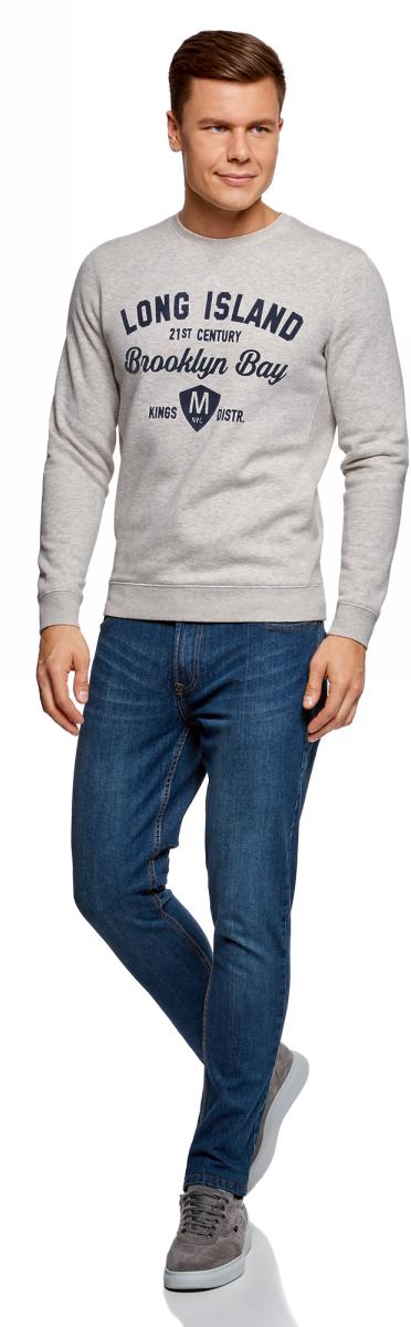 Свитшот мужской oodji Basic, цвет: светло-серый. 5B113003M-1/47836N/1279P. Размер L (52/54)5B113003M-1/47836N/1279PМужской свитшот от oodji выполнен из хлопкового трикотажа. Модель с круглым вырезом горловины и длинными рукавами на груди оформлена надписью.