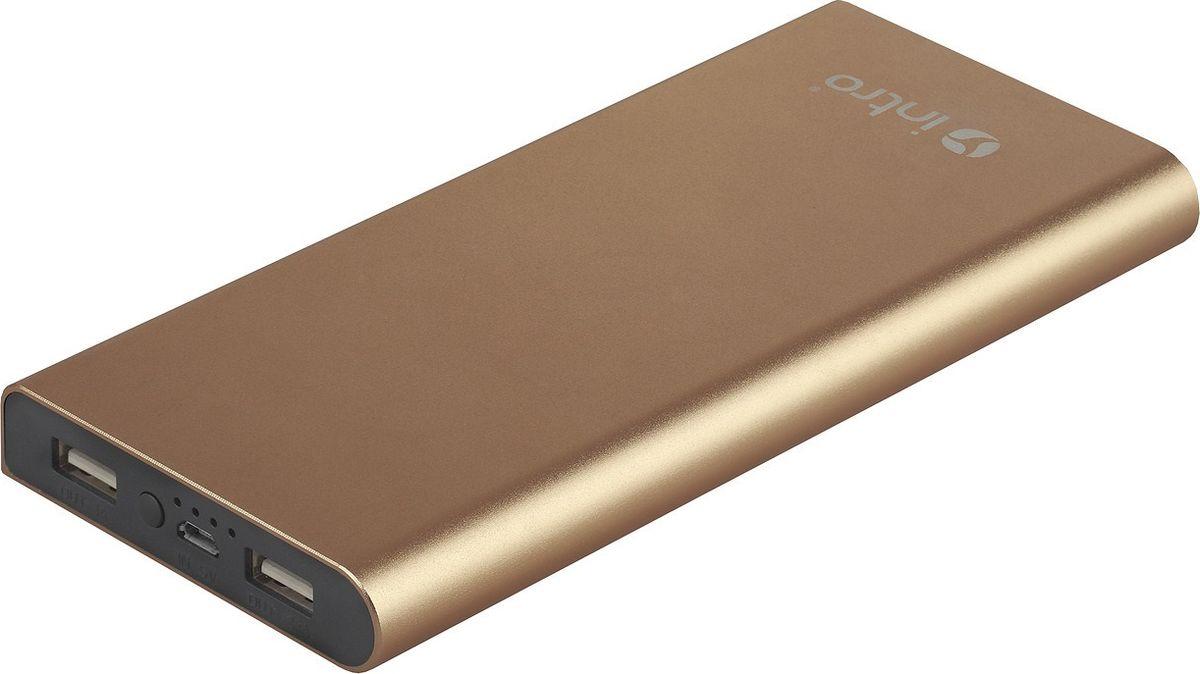 Intro Power Bank PB10, Gold внешний аккумуляторPB10Внешний аккумулятор Intro PB10 золотого цвета предназначен для портативной зарядки смартфонов, телефонов и других устройств.Емкости достаточно, чтобы зарядить среднестатистический смартфон три раза, а планшет - два раза.