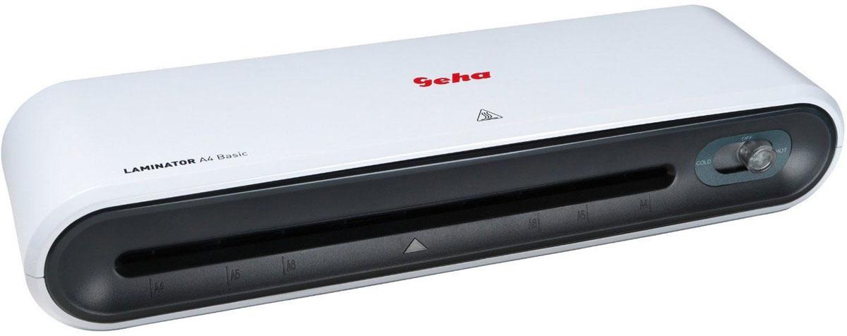 Geha A4 Basic ламинатор86096008Современный ламинатор Geha A4 Basic предназначен для небольшого объема работ по ламинированию дома или в офисе.Устройство обладает всеми требуемыми техническими показателями для качественной обработки небольшого объема документов.Прибор обеспечивает надежную и долгосрочную защиту документов, грамот от воздействия внешних факторов, таких как влага и пыль.Скорость ламинирования: 230 мм/минДопустимая толщина применяемых пленок: 80 - 100 мкмВремя нагрева: 5 минутКоличество валов: 2