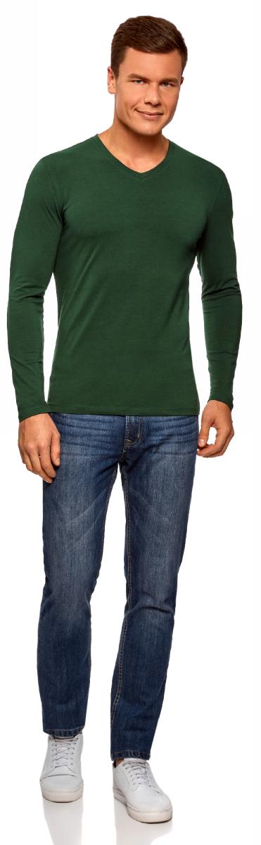 Лонгслив мужской oodji Basic, цвет: темно-зеленый. 5B511002M/46737N/6900N. Размер M (50) лонгслив мужской oodji basic цвет черный белый 2 шт 5b512004t2 46737n 1903n размер xl 56