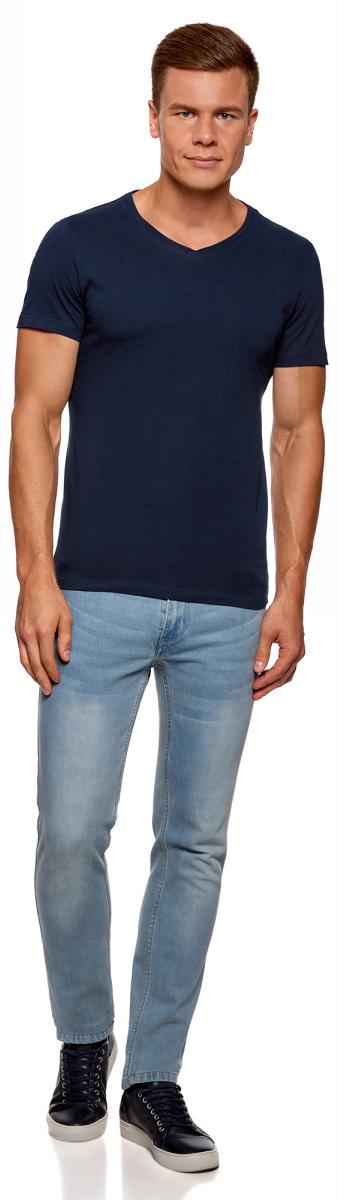 Футболка мужская oodji Basic, цвет: темно-синий, 2 шт. 5B612001T2/44135N/7900N. Размер S (46/48)5B612001T2/44135N/7900NКомфортная мужская футболка от oodji с короткими рукавами и V-образным вырезом горловины выполнена из натурального хлопка. В комплекте 2 футболки.