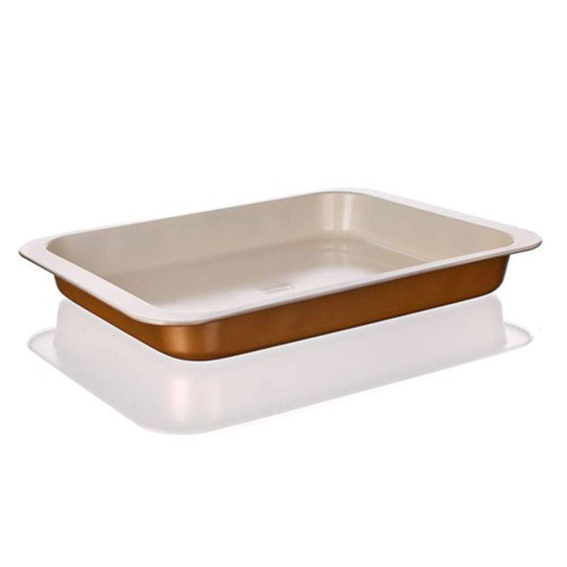 Лоток для выпечки Banquet Gourmet Ceramia, с керамическим покрытием, 42 х 29 х 5 см19YLE30GCУдобная и практичная прямоуголдьная форма, компактного размера. Красивый внешний вид - можно использовать для запекания, а также сервировки стола. Металлическая форма для запекания, имеет прямоугольную форму 42x29x5 см, керамическое антипригарное покрытие
