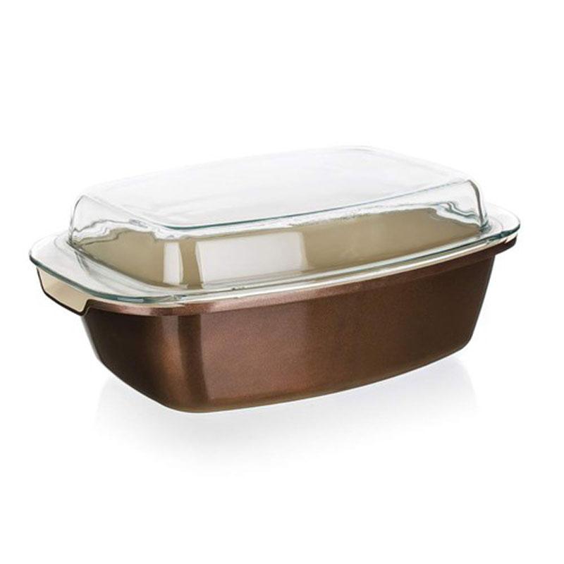 Форма для выпечки Banquet, с крышкой, 32,5 х 21 см40020633Подойдет как для приготовления блюд в духовке так и для подачи на стол. Красивый внешний вид, функциональный дизайн. Стеклянная крышка. Объем 5,6л. Изготовлена из литого алюминия, размер 32,5*21 см, антипригарное покрытие, толщина стенки 2 мм толщина основания 4,2 мм