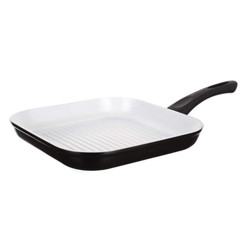 Сковорода-гриль Banquet Ceramia, с керамическим покрытием, цвет: черный, 26 х 26 см40GPR1112635CПодходит для всех плит, включая индукционные плиты, можно мыть в посудомоечной машине. Для приготовления, используйте деревянные или пластмассовые приборы, чтобы избежать царапин. Размер 26x26 см. Алюминиевый корпус с керамичесой поверхностью GREBLON 30-35 микрон, бакелитовую ручку .