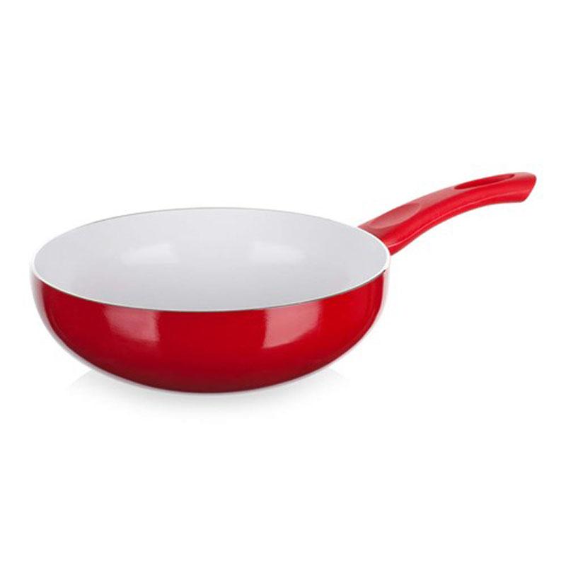 Сковорода-вок Banquet Ceramia, с керамическим покрытием, цвет: красный. Диаметр 24 см40HTWKCE0224RE-AСковорода wok -с керамической поверхностью изготовлена из природных материалов, поверхность более усточива к царапинам и высоким температурам. Отличная теплопроводность и высокое сопротивление означает большую практичность во время жарки и тушения. Размер 24*8 см. Алюминиевый корпус с керамической поверхностью, не содержит тяжелые металлы. Высокая теплопрводность и высокое сопротивление.