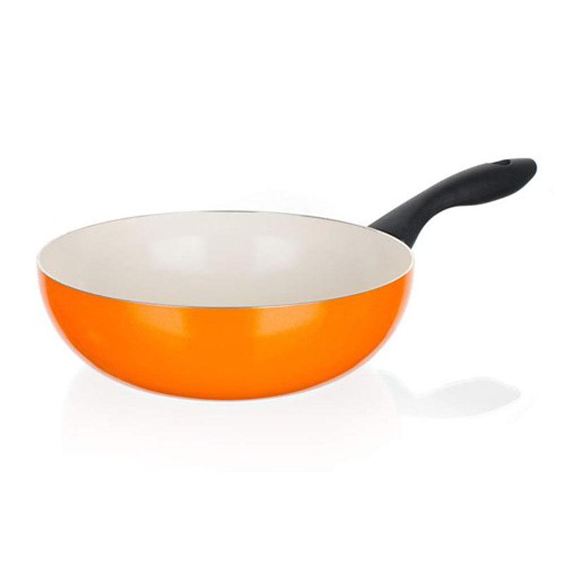 Сковорода-вок Banquet Ceramia, с керамическим покрытием, цвет: оранжевый. Диаметр 24 см40JC24WCCORСковорода wok -2-х слойное керамическое покрытие кремового цвета. Подходит для всех видов плит, кроме индукционных. Размер 24*7,3 см. Алюминиевый корпус с керамическим 2-х слойным покрытием. Ручка - пластик.