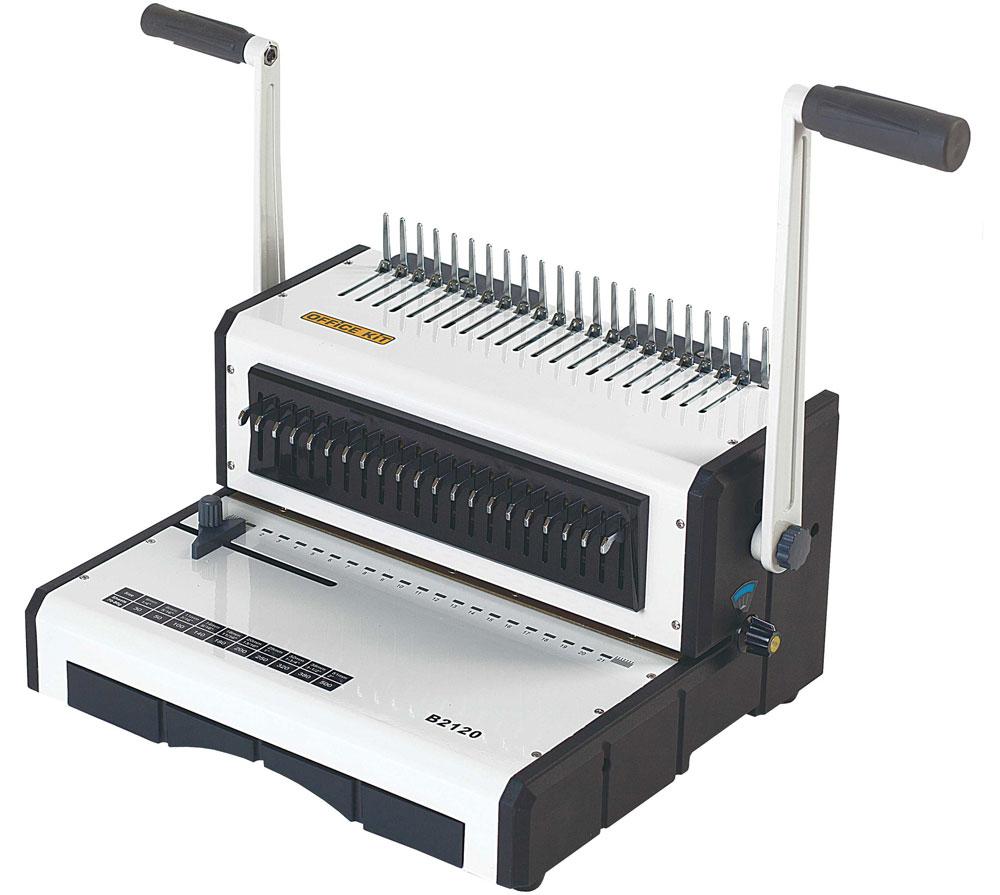 Office Kit B2120 брошюровщикB2120Office Kit B2120 - Офисный брошюровщик для переплета пластиковой пружиной.Рекомендован для организаций со средним объемом брошюровочных работ документов объемом до 500 страниц стандартного (А4, А5) и нестандартных форматов.Имеет регулировку глубины перфорации и возможность отключения ножей.Вид переплета: пластиковая пружинаКоличество листов (max): 20Толщина переплета (max), листов: 500Длина перфорации: 300 ммВид перфорации: РучнойРегулировка глубины перфорацииФормат бумаги: А4, А5Количество пробиваемых отверстий: 21Максимальный диаметр пружины: 51Шаг пружины: 9/16