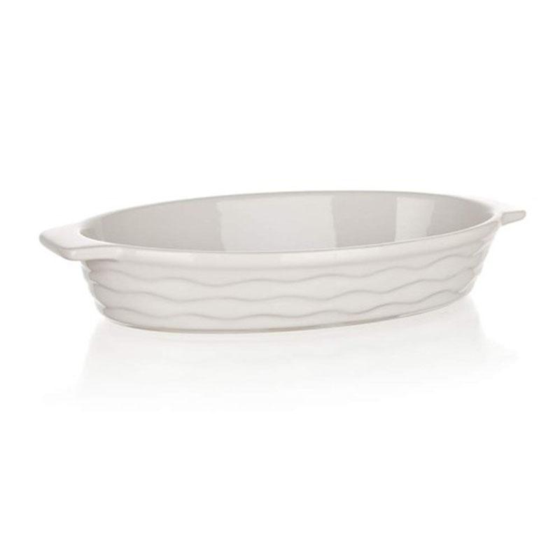 Форма для запекания Banquet, овальная, цвет: белый, 26 х 14 см60ZF06Функциональная овальная форма, красивый внешний вид - можно использовать для запекания, а также для сервировки стола. Керамическая форма для запекания, имеет овальную форму 26*14см, цвет белый.