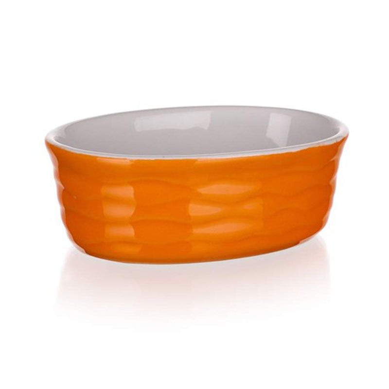 Форма для запекания Banquet, овальная, цвет: оранжевый, 12,5 х 8,5 см60ZF15Функциональная овальная форма для запекания Banquet выполнена из керамики, абсолютнобезвредной для человека. Внутренняя поверхность гладкая, что позволяет легко мыть иухаживать за посудой. Внешняя поверхность - рельефная.Форма имеет толстые стенки и дно, что позволяет ей равномерно нагреваться и долго сохранятьтепло. Приготовленные в керамической посуде блюда сохраняют все витамины, а благодарянизкой теплопроводности материала, блюда приобретают незабываемый вкус.Красивый внешний вид формы позволяет использовать ее не только для запекания, но и длясервировки стола.