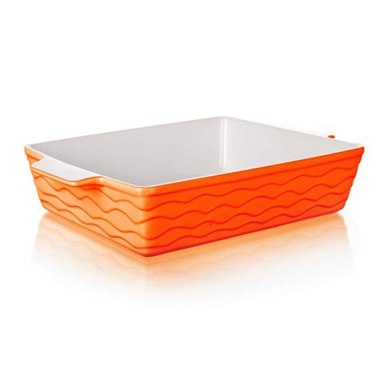 Форма для запекания Banquet, прямоугольная, цвет: оранжевый, 33 х 21 см60ZF18Функциональная прямоугольная форма, красивый внешний вид - можно использовать для запекания, а также для сервировки стола. Керамическая форма для запекания, имеет прямоугольную форму 33*21см, цвет оранжевый.