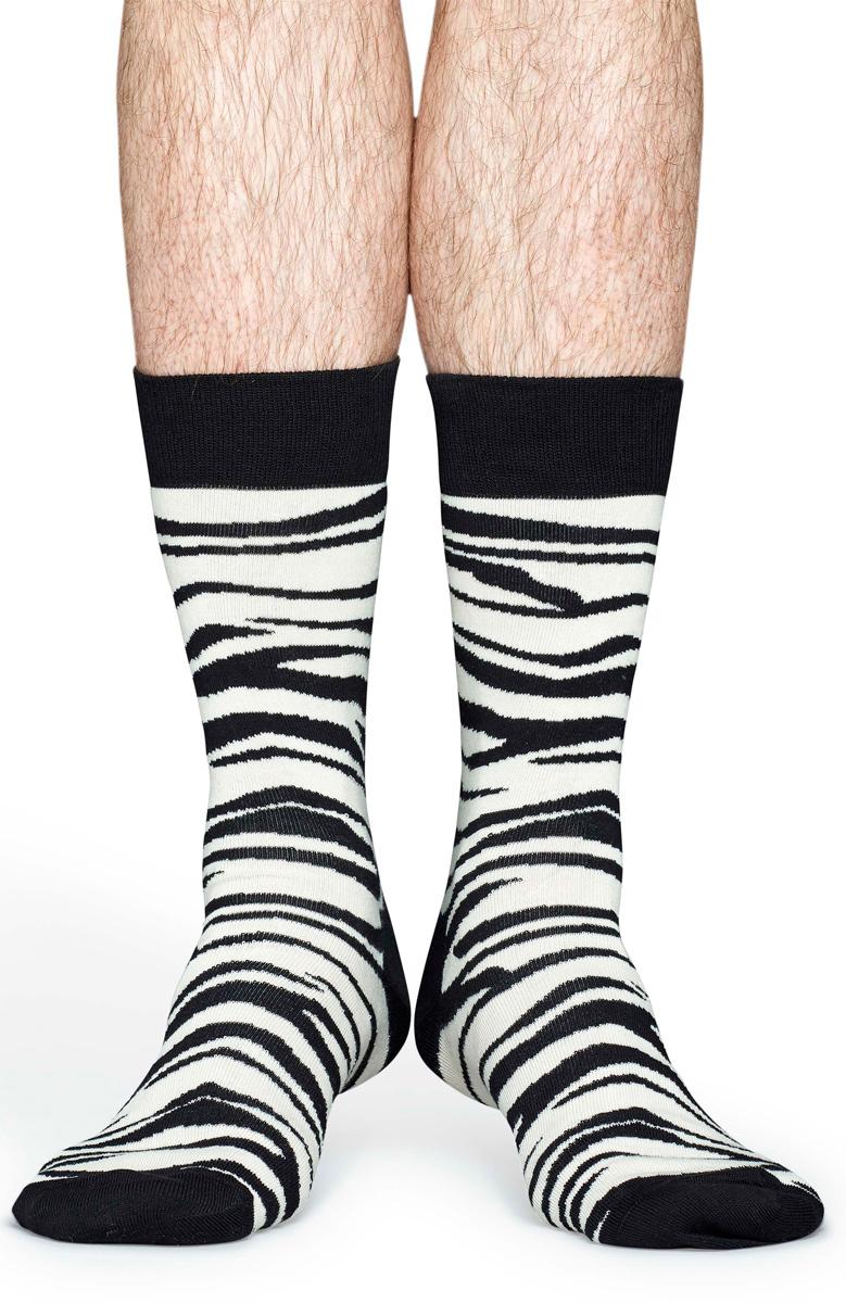 Носки мужские Happy socks, цвет: черный, белый. ZEB01. Размер 29ZEB01Носки Happy Socks, изготовленные из высококачественного материала, дополнены принтом. Эластичная резинка плотно облегает ногу, не сдавливая ее. Усиленная пятка и мысок обеспечивают надежность и долговечность.