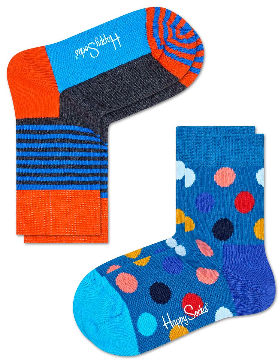 Комплект носков Happy socks, цвет: голубой, мультиколор. KBDO02. Размер 20, 7-9 летKBDO02Носки Happy Socks, изготовленные из высококачественного материала, дополнены принтом. Эластичная резинка плотно облегает ногу, не сдавливая ее. Усиленная пятка и мысок обеспечивают надежность и долговечность. В комплект входят две пары носков.