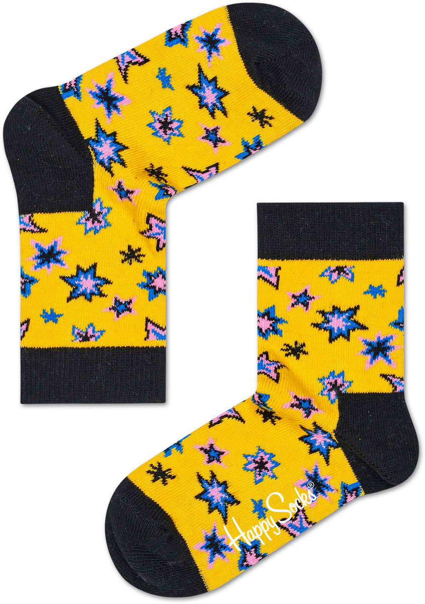 Носки детские Happy socks, цвет: желтый, черный. KBNG01. Размер 20, 7-9 лет happy socks носки happy socks sd01 073