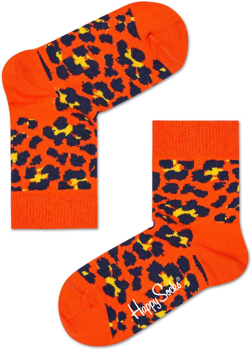 Носки детские Happy socks, цвет: оранжевый, черный. KLEO01. Размер 20, 7-9 лет