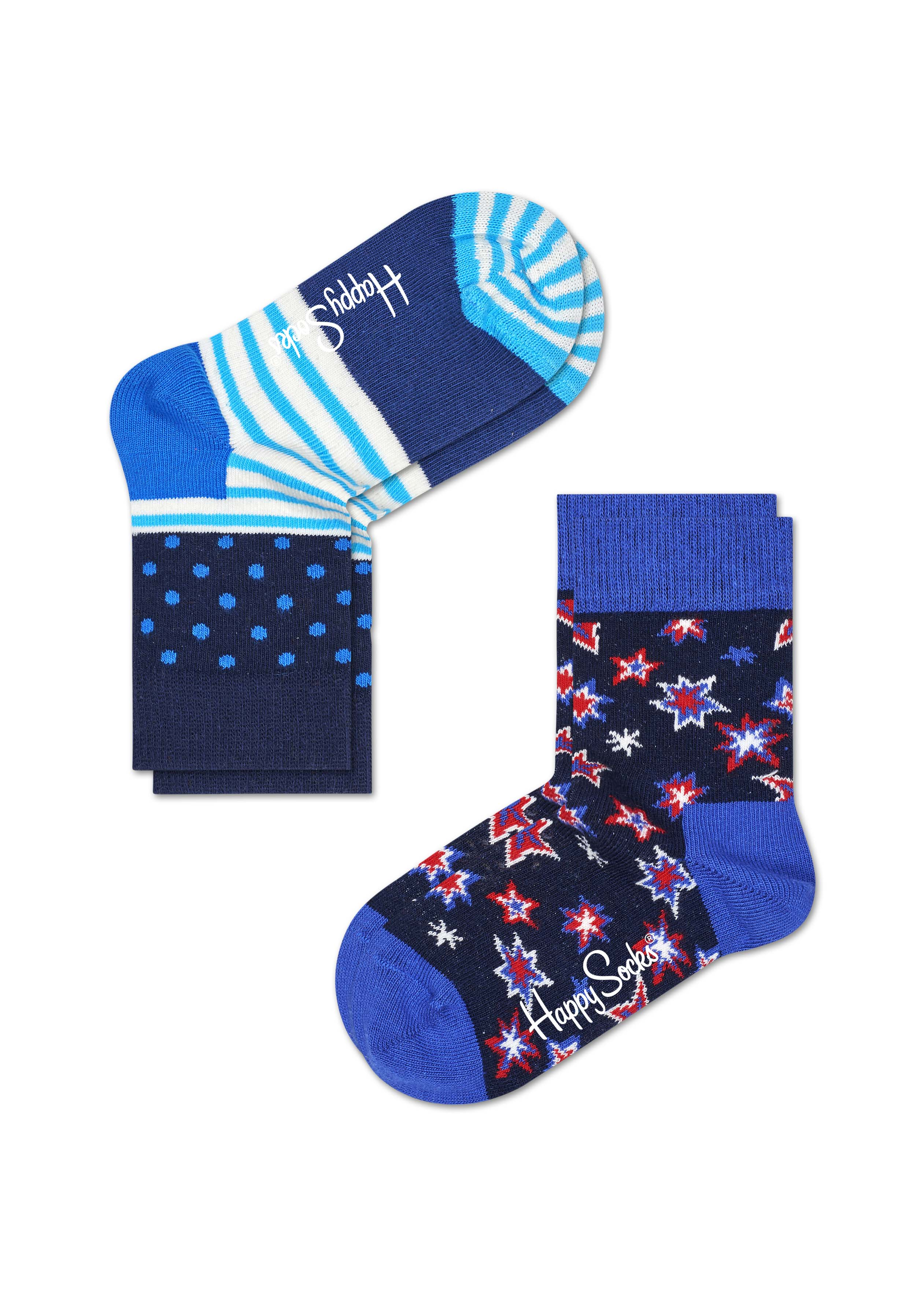 Комплект носков Happy socks, цвет: темно-синий, голубой. KBNG02. Размер 18, 4-6 летKBNG02Носки Happy Socks, изготовленные из высококачественного материала, дополнены принтом. Эластичная резинка плотно облегает ногу, не сдавливая ее. Усиленная пятка и мысок обеспечивают надежность и долговечность. В комплект входят две пары носков.