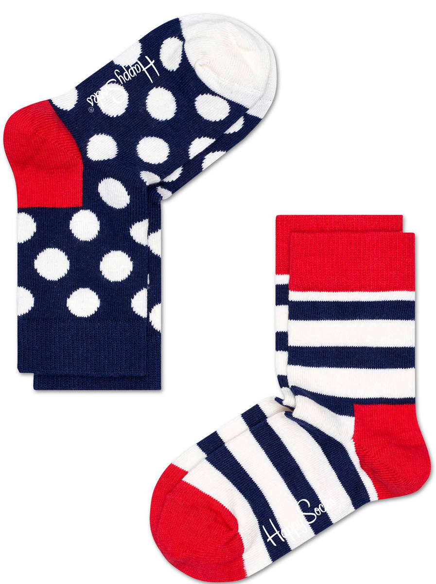 Комплект носков Happy socks, цвет: темно-синий, белый. KSTR02. Размер 20, 7-9 летKSTR02Носки Happy Socks, изготовленные из высококачественного материала, дополнены принтом. Эластичная резинка плотно облегает ногу, не сдавливая ее. Усиленная пятка и мысок обеспечивают надежность и долговечность. В комплект входит две пары носков.