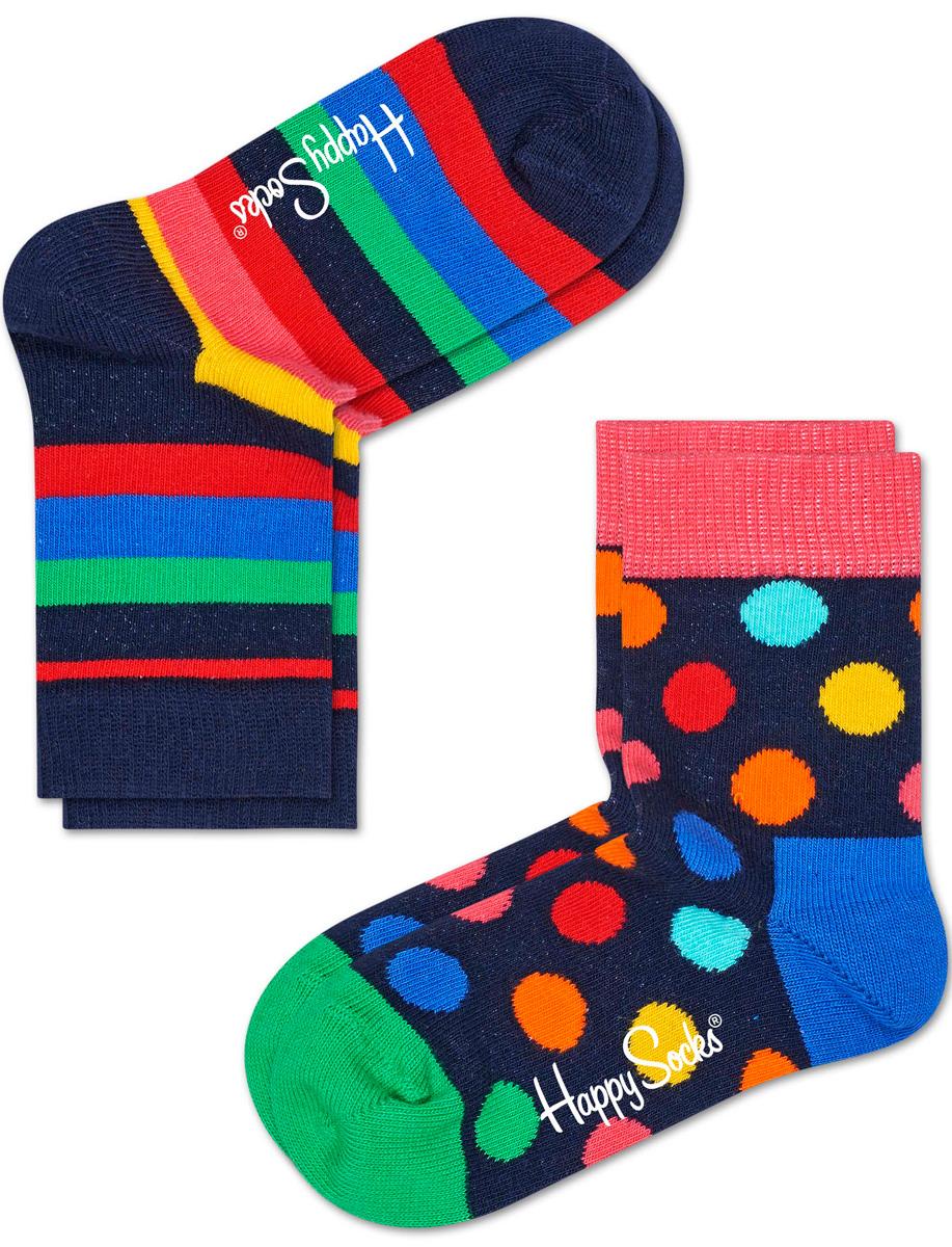Комплект носков Happy socks, цвет: темно-синий, мультиколор. KSTR02. Размер 18, 4-6 летKSTR02Носки Happy Socks, изготовленные из высококачественного материала, дополнены принтом. Эластичная резинка плотно облегает ногу, не сдавливая ее. Усиленная пятка и мысок обеспечивают надежность и долговечность. В комплект входят две пары носков.