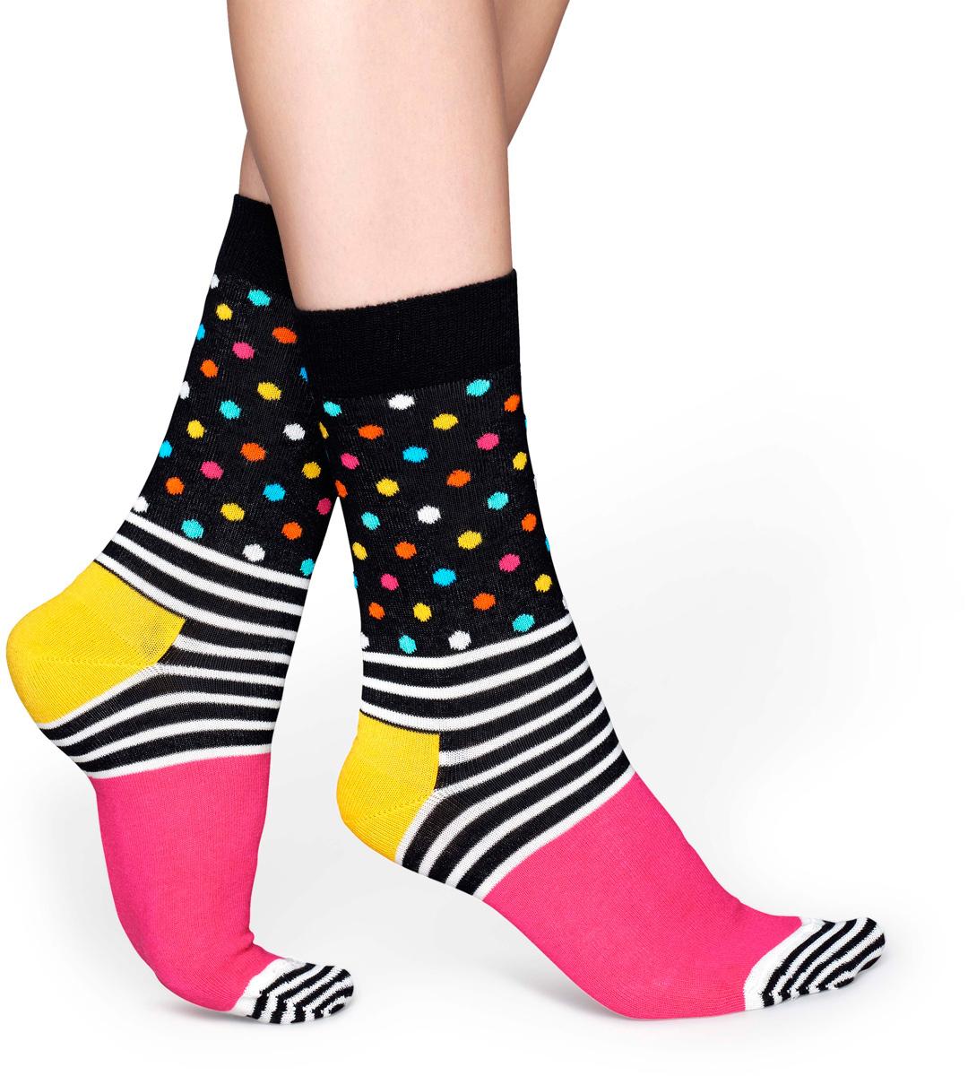Носки женские Happy socks, цвет: черный, розовый. SDO01. Размер 29SDO01Носки Happy Socks, изготовленные из высококачественного материала, дополнены принтом. Эластичная резинка плотно облегает ногу, не сдавливая ее. Усиленная пятка и мысок обеспечивают надежность и долговечность.