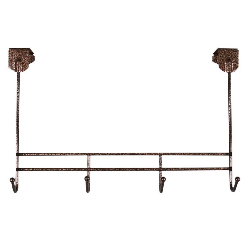 Вешалка надверная ЗМИ Нота 4, металическая, цельносварная, четыре крючка, цвет: медный антик