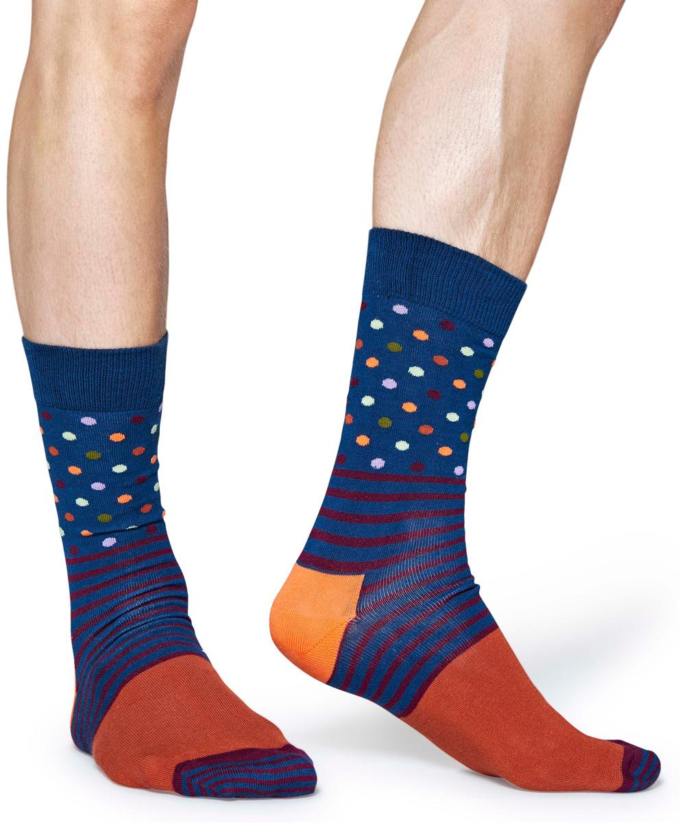 Носки женские Happy socks, цвет: синий, оранжевый. SDO01. Размер 25SDO01Носки Happy Socks, изготовленные из высококачественного материала, дополнены принтом. Эластичная резинка плотно облегает ногу, не сдавливая ее. Усиленная пятка и мысок обеспечивают надежность и долговечность.