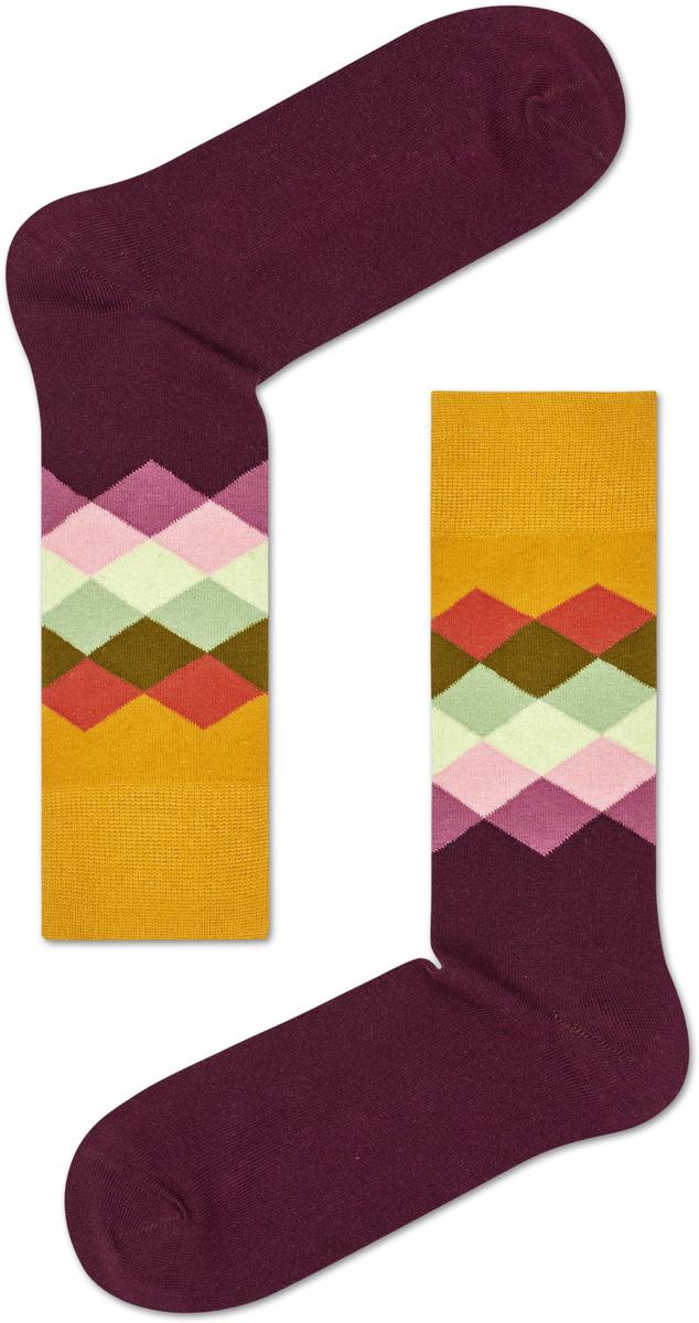 Носки женские Happy socks, цвет: бордовый, желтый. FAD01. Размер 25FAD01Носки Happy Socks, изготовленные из высококачественного материала, дополнены принтом. Эластичная резинка плотно облегает ногу, не сдавливая ее. Усиленная пятка и мысок обеспечивают надежность и долговечность.