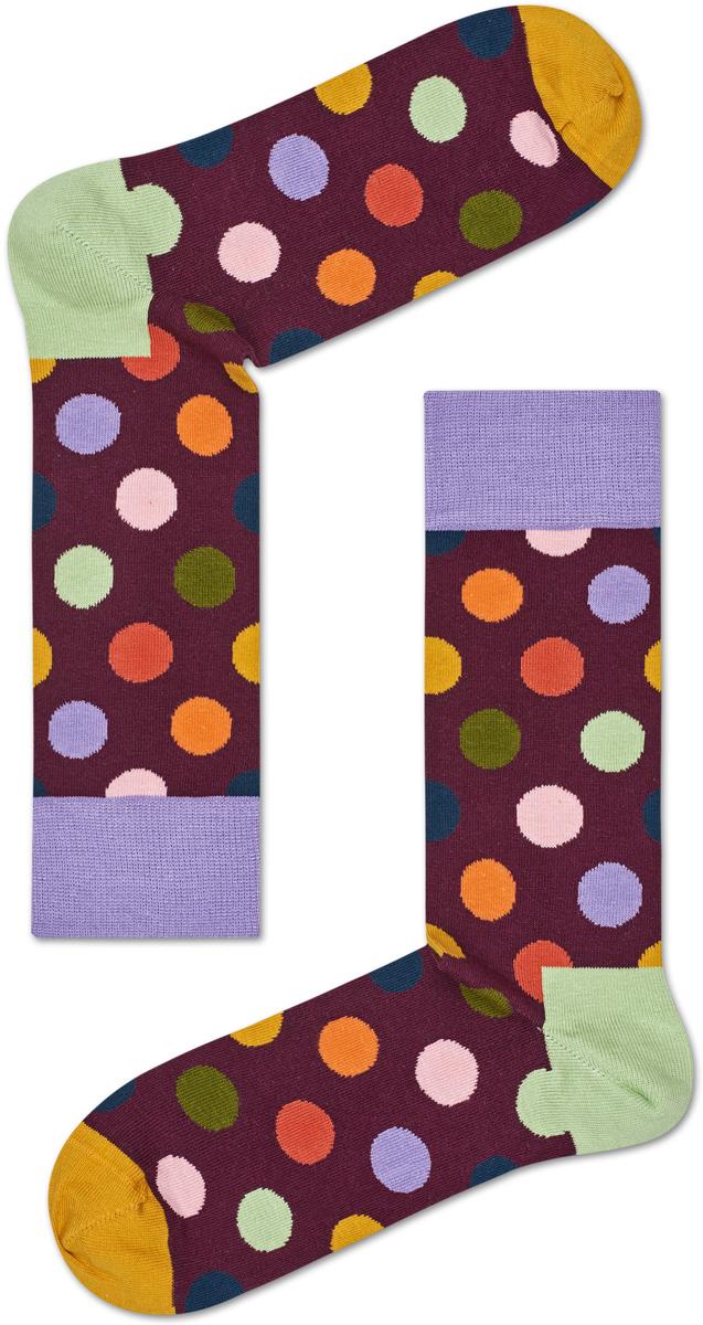 Носки женские Happy socks, цвет: бордовый, мультиколор. BDO01. Размер 25BDO01Носки Happy Socks, изготовленные из высококачественного материала, дополнены принтом. Эластичная резинка плотно облегает ногу, не сдавливая ее. Усиленная пятка и мысок обеспечивают надежность и долговечность.